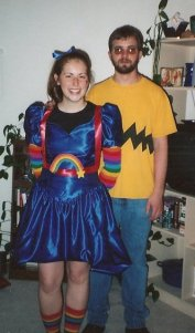Me as Rainbow Brite and Hubby Greg as Charlie Brown!
