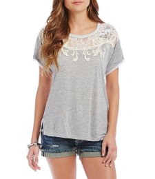 Dillard's Heather Gray Lace Top.
