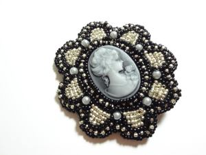 Hand beaded cameos-Hair accessories.