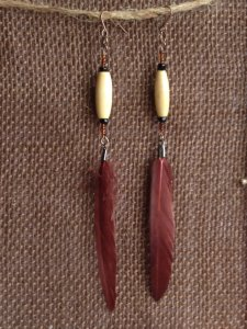 Handmade brown feather earrings. Made by MySoulAfire on Etsy.
