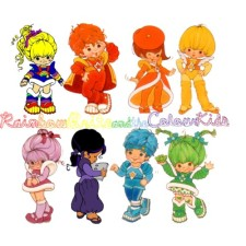 L to R. Rainbow Brite: the leader of Rainbow Land.   Red Butler: He is responsible for the color red. Red Butler's personality is adventurous and daring. Lala Orange: She is responsible the color orange. Lala Orange's character is romantic and stylish. Canary Yellow: She is responsible for the color yellow. Canary Yellow's character is upbeat and optimistic. Shy Violet: She is responsible for the color violet (and warmer shades of purple). Shy Violet's personality is intellectual and resourceful. Indigo: She is in charge of the color indigo and the lighter shades of purple. Indigo's personality is dramatic and creative Buddy Blue: He is responsible for the color blue. Buddy Blue's character is sporty and valiant. Patty O'Green: She responsible for the color green. Patty O'Green's character is mischievous and spirited.