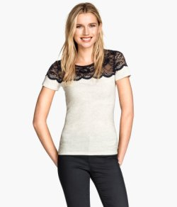 H&M's White Jersey Lace Top.