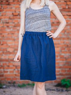 Eco friendly navy blue skirt found on Etsy.